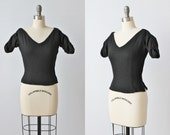 Vintage 1950s Cropped Black Top Blouse / Jeanne Campbell for Sport Whirl / Ruched Sleeves / Side Zipper / Wool