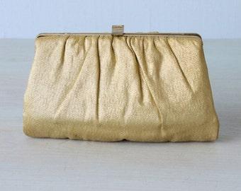 Gold Purse / Gold Clutch / Metallic / 1960s Evening Handbag / Optional Chain Handle / Gilded