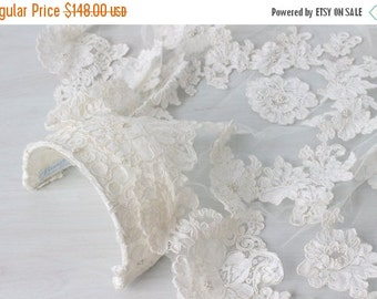 SALE Lace Wedding Veil / Long Wedding Veil  / Mantilla Veil / 1970s Wedding Veil