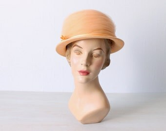 1960s Peach Small Brim Tulle and Straw Hat / 60s Hat / Peach Chintz