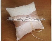 Pintuck Taffeta Diamonds Ring Bearer Pillow with Rhinestone Accent..shown in ivory/champagne
