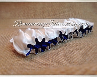 The Original Fully Reversible Bridal Garter..You Choose The Colors..shown in ivory/navy blue