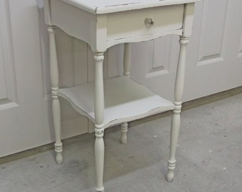 Nightstand / End Table, Distressed White Cottage Style- NS701 Chippy Farmhouse Style