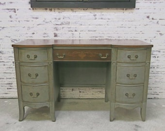 Desk / Vanity, Weathered Grey Cottage Style - DK801 Shabby Farmhouse Chic, French Country, Stained Wood Top
