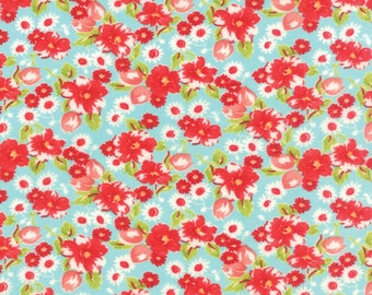 BLACK FRIDAY SALE - 3 yard cut Flannel - Little Ruby in Aqua - 55130 12F - Little Swoon - Bonnie and Camille for Moda Fabrics
