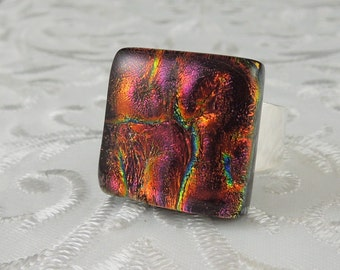 Dichroic Fused Glass Ring - Glass Ring - Fused Glass Ring - Metal Ring - Geekery Jewelry - Dichroic Jewelry - Large Jewelry X4027