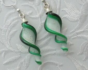 Dichroic Fused Glass Lampwork Twisty Earrings - Christmas Earrings - Christmas Ornament - Christmas Candy - Bohemian Earrings - Boho 1627