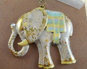 Elephant Pendant - Antique Brass - Hand Painted - Creamy Pale Pink - Dry Gulch 64870