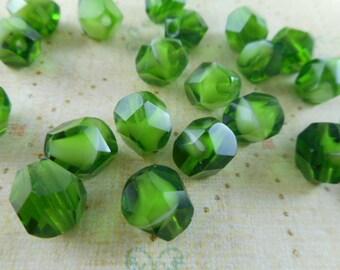 Green Givre Faceted Helix Cut Czech Glass Beads
