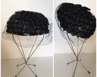 Black Straw Hat with Netting and Velvet Bow