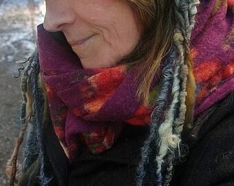 knit hat curly wool art yarn rustic chunky warm winter hat - fox den friend
