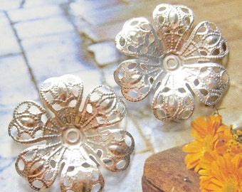 8 pcs silver plated filigree flower cabochon settings , charm, pendant