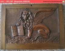 Antique Winged Lion Wood Carved Panel