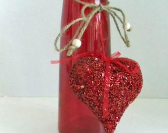 Red Heart Glass Vase