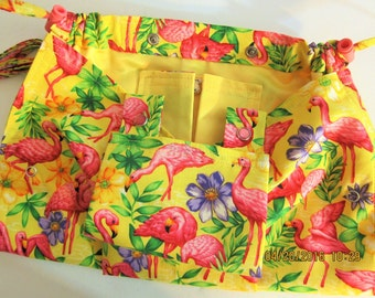 KNITTING BAG APRON -  Spring Flamingos Made To Order - Allow 3 weeks for Delivery