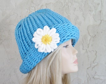 Blue Cloche Adult Hand Knit Hat with Removable Flower Ready to Ship