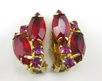 Vintage Red Rhinestone Costume Clip on Earrings