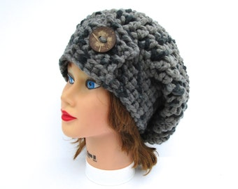 Crochet Slouchy Beanie with Button - Two Tone Gray Hat - Raven Hat - Chunky Beanie - Women's Hat - Crochet Accessories