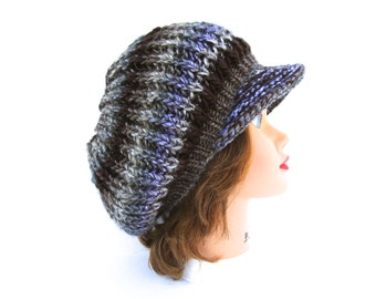 Women's Newsboy Cap - Chrysler Hat - Slouchy Tam With Brim - Brimmed Beanie - Visor Beret - Blue Brown Gray Hat - Knit Accessories