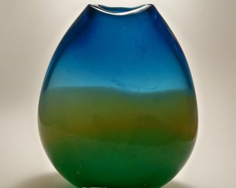 Hand Blown Art  GlassTall Flat Sided Lanscape Colored Vase