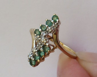Vintage fancy Emerald & Diamond Cocktail Ring in solid 10K Y Gold, 8 natural emeralds, size 6.5, free US first class shipping