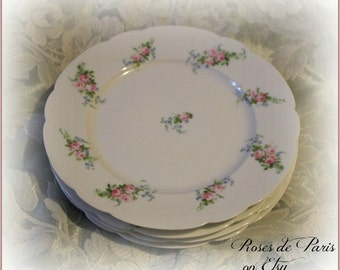 "set of 4 French Limoges plates  8.25""   Sweet pink roses   Shabby    France  Ahrenfeldt"