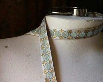 2 yds Gold & Blue Ribbon Jacquard Ribbon Trim for Garments, Reenactment Costume Design  TR