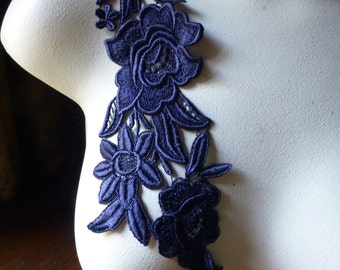 Navy Blue no. 1 Lace Applique with Triple Flowers Venice Lace for Bridal, Costume Design CA
