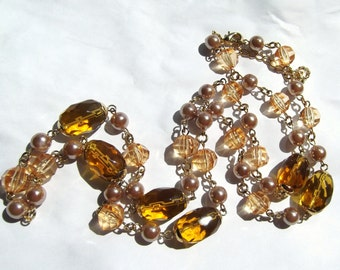 Vintage Golden, Yellow, and Taupe Glass Bead Necklace