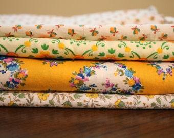 Vintage yellow fabric lot DESTASH