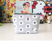 mini zipper pouch coin pouch knitting notions pouch mini knitting bag zippered bag - sheep in hats