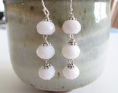 White Jade dangle earrings, sterling and stone earrings, wedding whites, bridal earrings