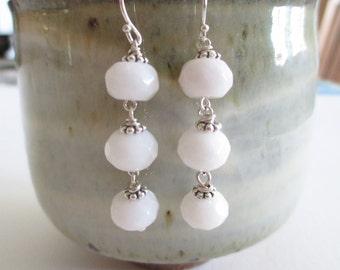 White Jade dangle earrings, sterling and stone earrings, wedding whites, bridal earrings