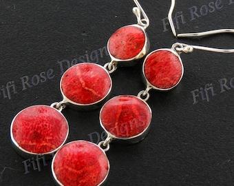 "1 15/16"" 925 Sterling Silver Red Coral Drop Earrings"