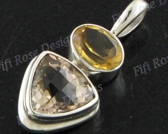 """1 1/16"""" Checkerboard Champagne Quartz Citrine 925 Sterling Silver Pendant"""