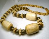 Tribal Bone Bead Necklace, Chunky Carved Bone Beads w Brass Round Beads, Cream Color, Nice Earthy Bead Assortment, 1970s, Boho Classic
