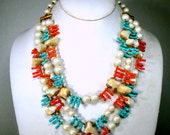 Reserved Caroline, Miriam Haskell Style Necklace w Clip Earrings, 3 Strand Pearls w Faux Red Coral n Turquoise, 1950 Vintage Palm Beach Glam