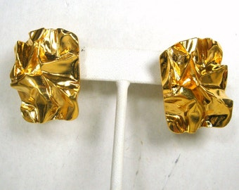 Brutalist Gold Post Earrings, 1980s Nugget Rectangles or Wrinkled Paper, Unused Gift Worthy Shiny ..