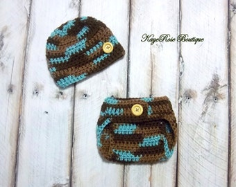 Newborn Baby Boy Crochet Hat and Diaper Cover Set Variegated Teal Brown and Tan