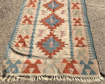 Antique Hand Woven Turkish Kilim Rug 4x6 feet