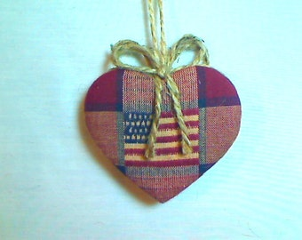 Americana Heart Ornament | Valentines Day | Spring Decor | Party favor | July 4th | Tree Ornament | Holidays | Primitive | Handmade | #2