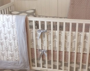 DEPOSIT Taupe and Gray Arrows Gender Neutral Baby Bedding