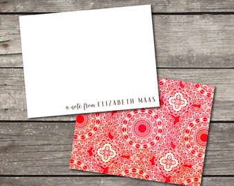 Personalized Set of 10 Red Ornate Floral Lace Pattern Custom Notecards for Teacher Gift Coworker Gift Thank You Notes or Personal Stationery