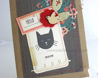 Cat Hello Handmade Card~unique card~all occasion card~meow~cat lover~baby card~brown~red heart~pink~bird
