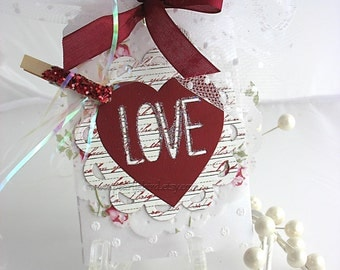 Valentine Love Heart XL Deluxe Art Gift Tags~maroon~white~February 14th~red~gold~pink~arty hang tags~gift bag SWAG~pretty packaging