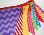 Girl's Carnival Birthday Banner Party Decoration with Pink and Purple, Newborn Photo Prop Flags - Red, Yellow, Aqua, Orange, Purple, Green