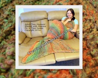 Mermaid Blanket Adult/Teen Crocheted Momma Fin in Bright Orange Green Yellow Ready To Ship