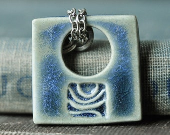 Abstract Ceramic Pendant in Storm Blue glaze, ceramic jewelry in porcelain clay, handcarved design by Artgirl56