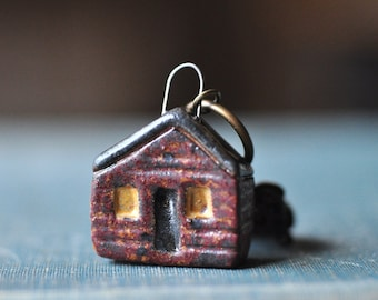 Ceramic Cabin Miniature Pendant, Charm Cluster, ready to hang on your favorite necklace!