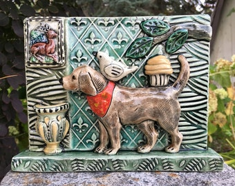 Wall Decor Tiles, Wall Art, Ceramic tile, Ceramic Art Tile, Tile Art, Wall Tile, Wall Hanging, Wall Sculpture, Dog Art